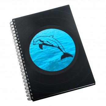 Zápisník z vinylových desek A5 - bez linek - Delfín