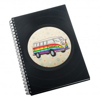 Zápisník z vinylových desek A5 - bez linek - Hippie Car