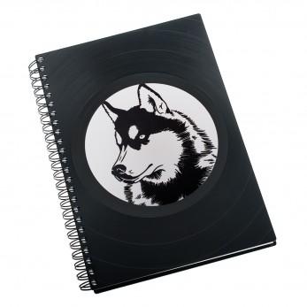 Zápisník z vinylových desek A5 - bez linek - Husky