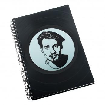 Zápisník z vinylových desek A5 - bez linek - Johnny Depp