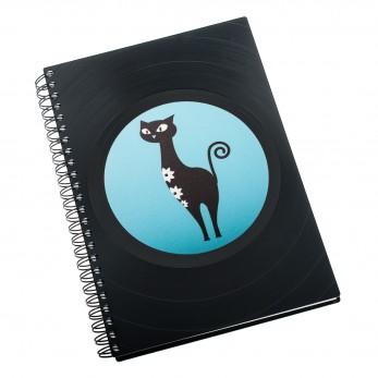 Zápisník z vinylových desek A5 - bez linek - Kočka modrá