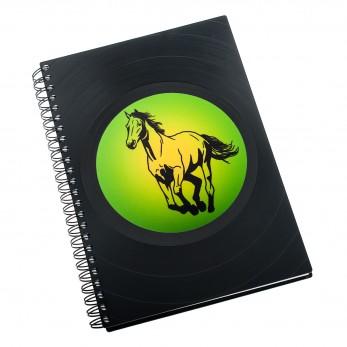 Zápisník z vinylových desek A5 - bez linek - Kůň