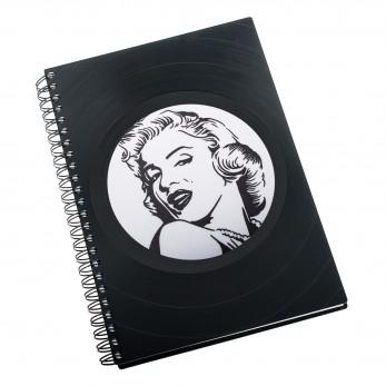 Zápisník z vinylových desek A5 - bez linek - Marilyn Monroe