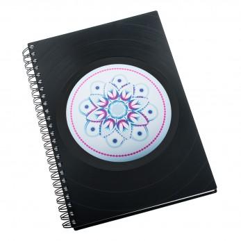 Zápisník z vinylových desek A5 - bez linek - Mandala zdraví
