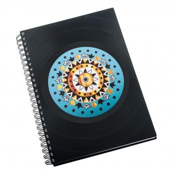 Zápisník z vinylových desek A5 - bez linek - Mandala tyrkysovohnědá