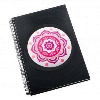 Zápisník z vinylových desek A5 - bez linek - Mandala růžová