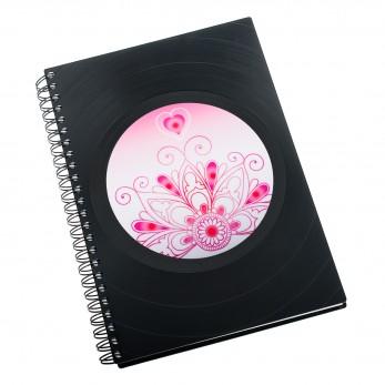 Zápisník z vinylových desek A5 - bez linek - Mandala romantická