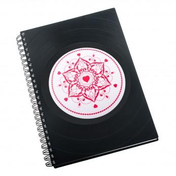 Zápisník z vinylových desek A5 - bez linek - Mandala láska