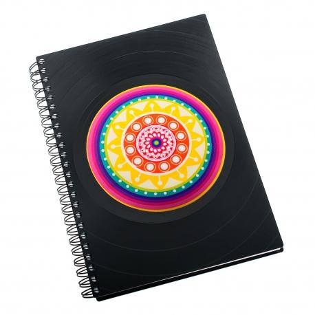 Zápisník z vinylových desek A5 - bez linek - Mandala duhová