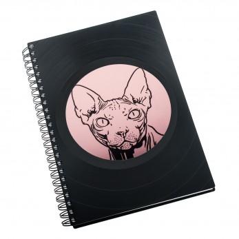 Zápisník z vinylových desek A5 - bez linek - Kočka Sphynx
