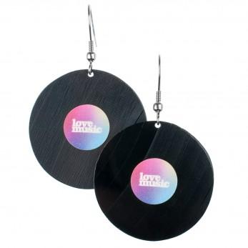 Visací náušnice vinyl - duhové - Lovemusic