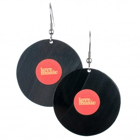 Visací náušnice vinyl - červené - Lovemusic