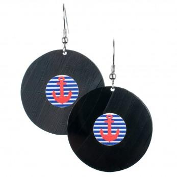 Visací náušnice vinyl - modrobílé proužky - námořnické kotvičky
