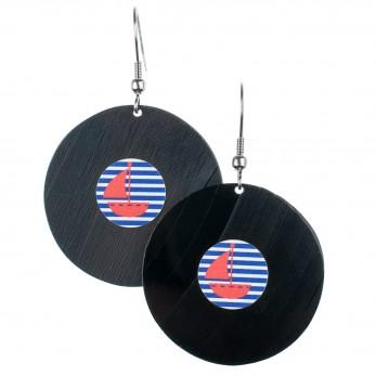 Visací náušnice vinyl - modrobílé proužky - námořnické plachetnice