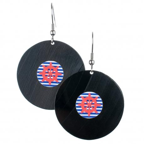 Visací náušnice vinyl - modrobílé proužky - námořnické kormidlo