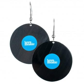 Visací náušnice vinyl - modré - Lovemusic