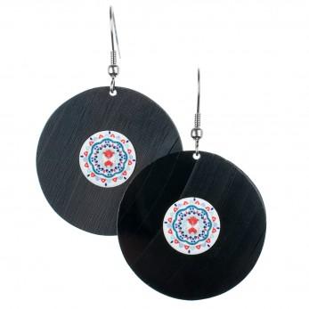 Visací náušnice vinyl - bílé - Mandala modročervená