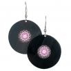 Visací náušnice vinyl - černé - Mandala růžovočerná