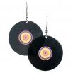 Visací náušnice vinyl - barevné - Mandala duhová