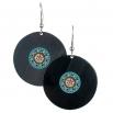 Visací náušnice vinyl - tyrkysové - Mandala tyrkysovohnědá