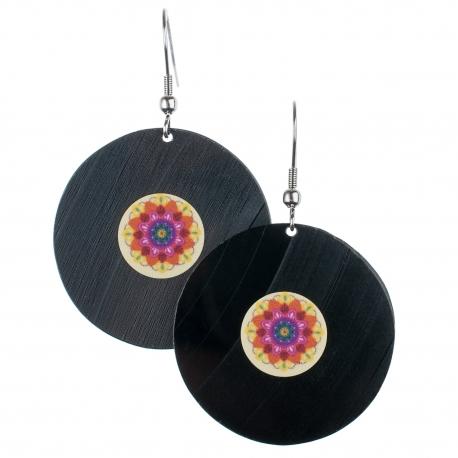 Visací náušnice vinyl - barevné - Mandala barevná
