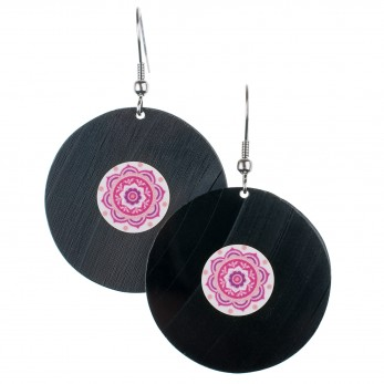 Visací náušnice vinyl - růžovobílé - Mandala Růžová