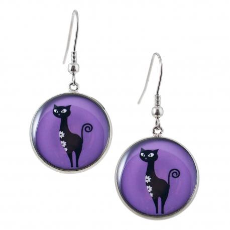 Kulaté visací náušnice Epoxy - fialové - Kočka Stojící