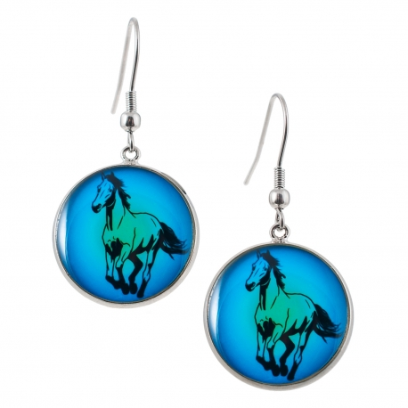 Kulaté visací náušnice Epoxy - modré - Kůň