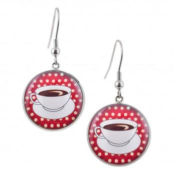 Kulaté visací náušnice Epoxy - červený puntíček - Káva