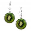 Kulaté visací náušnice Epoxy - zelené - Kiwi