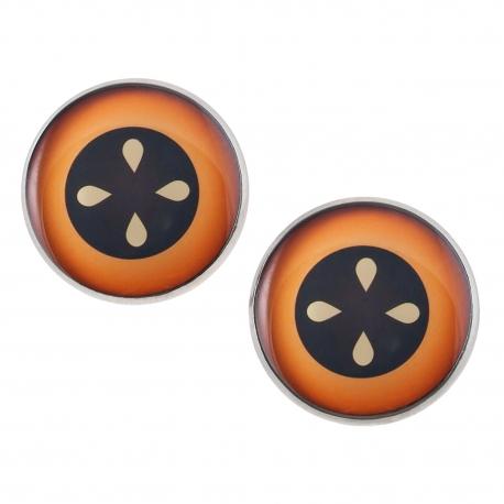 Velké náušnice pecky Epoxy - černohnědobílé - Koláč