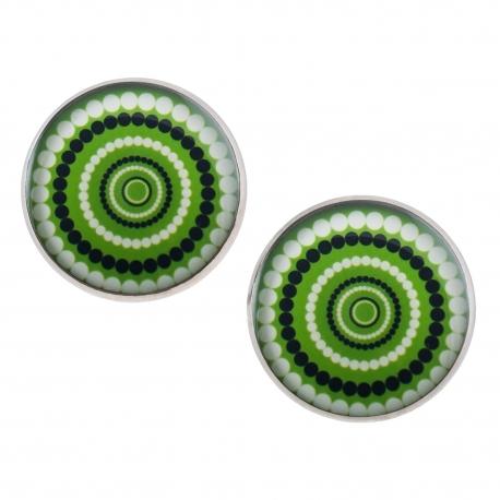 Velké náušnice pecky Epoxy - zelenočernobílé - Vertigo