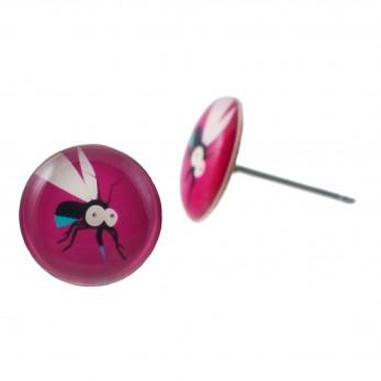 Malé náušnice pecky Epoxy - růžové - Komár
