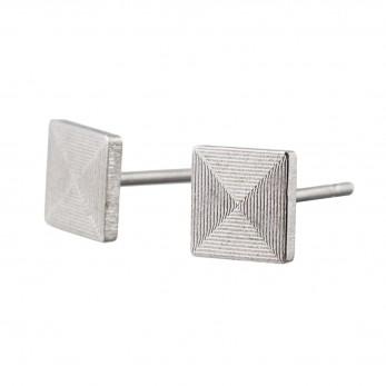 Ocelové náušnice pecky - Briliant  - Čtverec