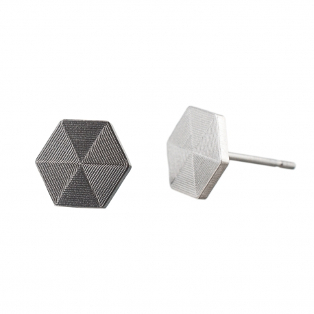 Ocelové náušnice pecky - Briliant  - Šestiúhelník