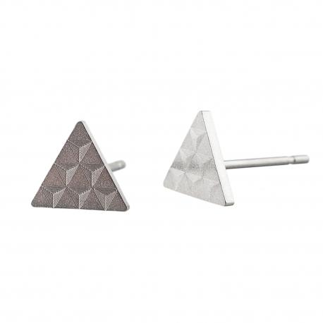 Ocelové náušnice pecky - Briliant  - Trojúhelník