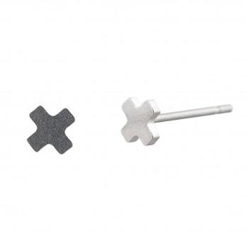 Ocelové náušnice pecky  - Minikříž