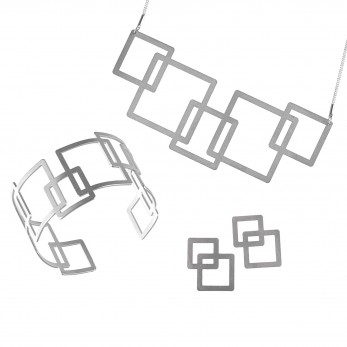 Luxusní sada ocelových šperků Complexity - Square Earstuds