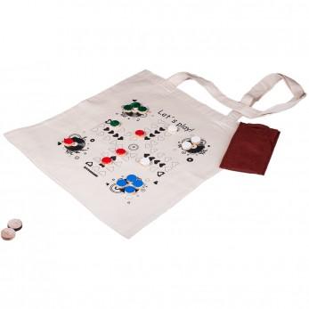 Hravá béžová plátěná taška s potiskem - Člověče, nezlob se