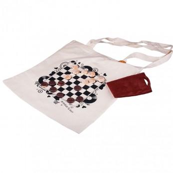 Hravá béžová plátěná taška s potiskem - Malá dáma