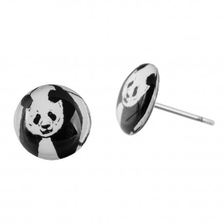 Malé náušnice pecky Epoxy - černobílé - Panda