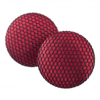 Malé buttonkové náušnice potažené látkou - Červenočerné tylovky
