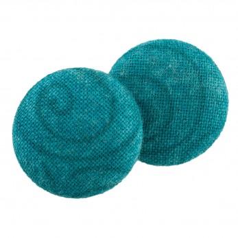 Malé buttonkové náušnice potažené látkou - Tyrkysové Spirálky