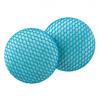 Malé buttonkové náušnice potažené látkou - Modrozelené Tylovky