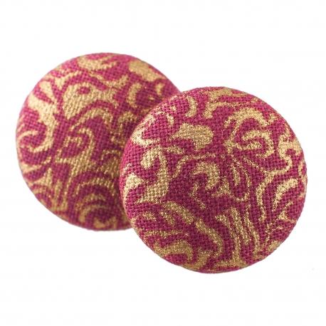 Malé buttonkové náušnice potažené látkou - Červenozlatý Dekor