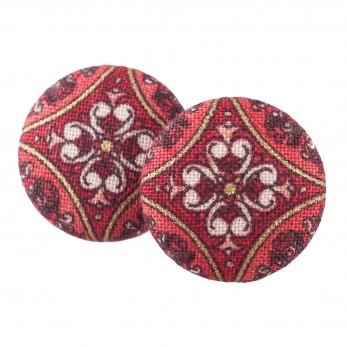 Malé buttonkové náušnice potažené látkou - červené Antik 1