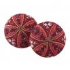 Malé buttonkové náušnice potažené látkou - červené Antik 2