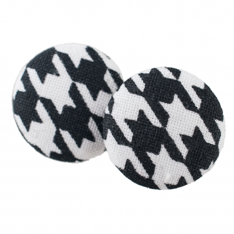 Malé buttonkové náušnice potažené látkou - Černobílý Elegant