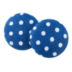 Malé buttonkové náušnice potažené látkou - Modrý Puntíček
