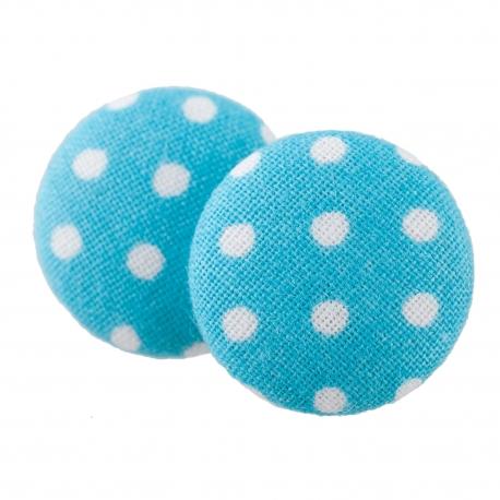 Malé buttonkové náušnice potažené látkou - Světlemodrý Puntíček